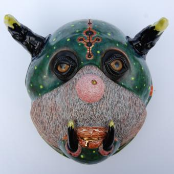 Brad Blair, Gold Droolin' Galactic Ghoul Cat, Earthenware Clays, Glass Eyes, Apoxy Sculpt, Microbeads, Found Metal Object and Monofilament, 10.25x10x7, 2017