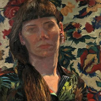 small oil painting with figure in shadow, some light on face and neck. pattern shirt and different pattern wall paper.