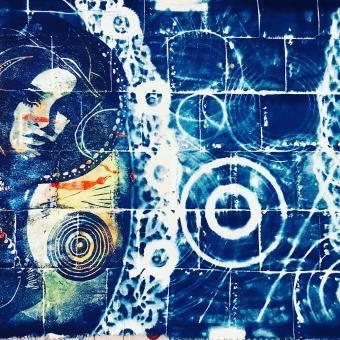 linocut, silkscreen, cyanotype, textile art, fiber art