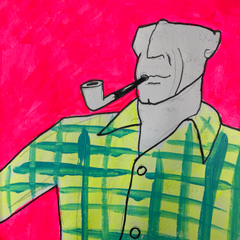 Illustration of man smoking a pipe on a hot pink background.