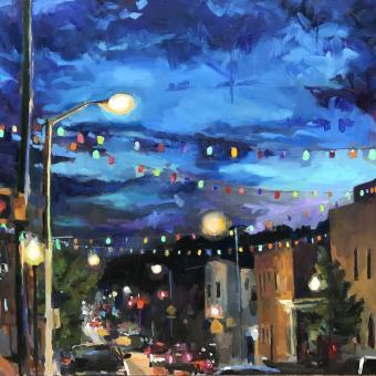 Oil painting depicting lanterns over Eastern Ave in Highlandtown