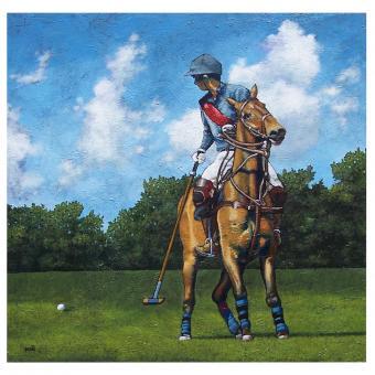 landscape, acrylic, horses
