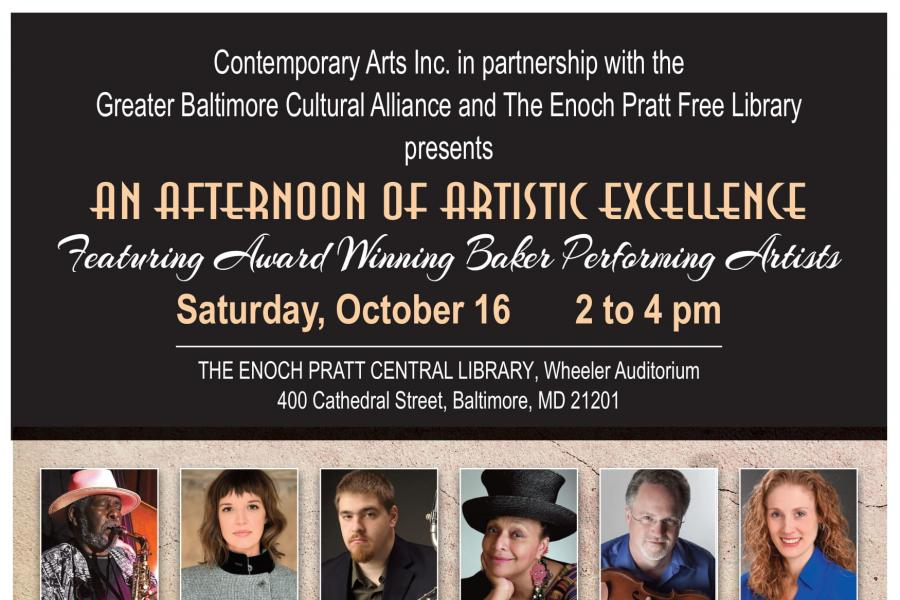 Flyer for event with pictures of featured artists
