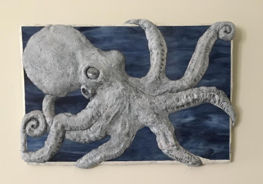 Grey Octopus bas relief sculpture, concrete, stained glass, 12 x 18