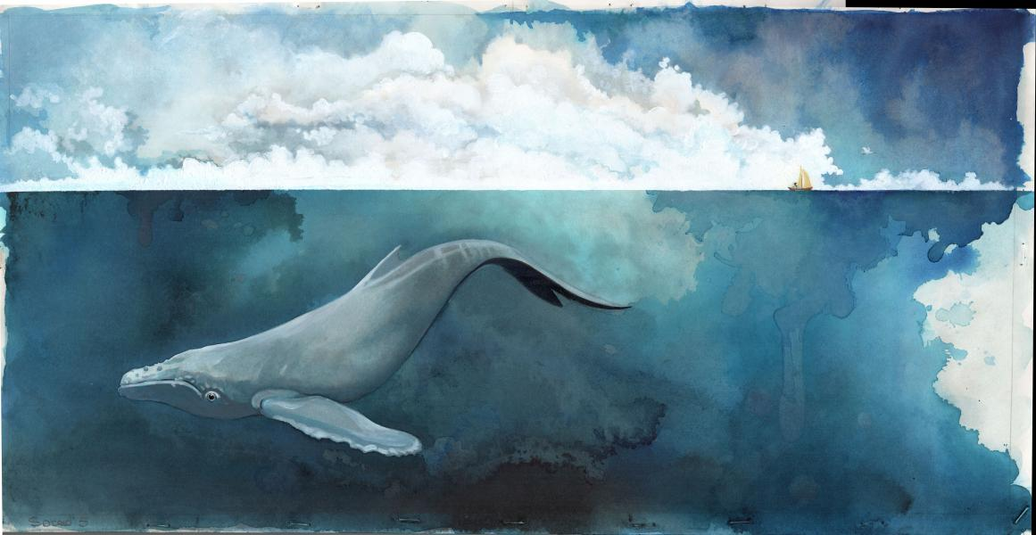 whale and tiny boat on the ocean