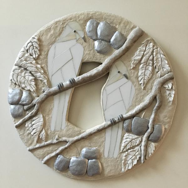 mosaic bird sculpture