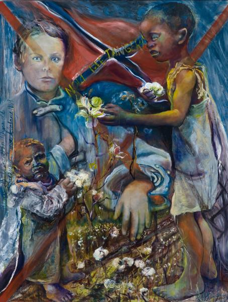 social psychological painting, meaning of confederate flag, children