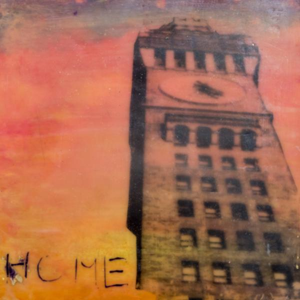 encaustic,sunset,bromoseltzer tower, skyline, Baltimore, home