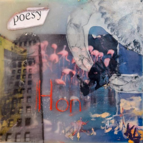 encaustic, poesy, citypaper, bromoseltzer,rowhomes,crab, collage