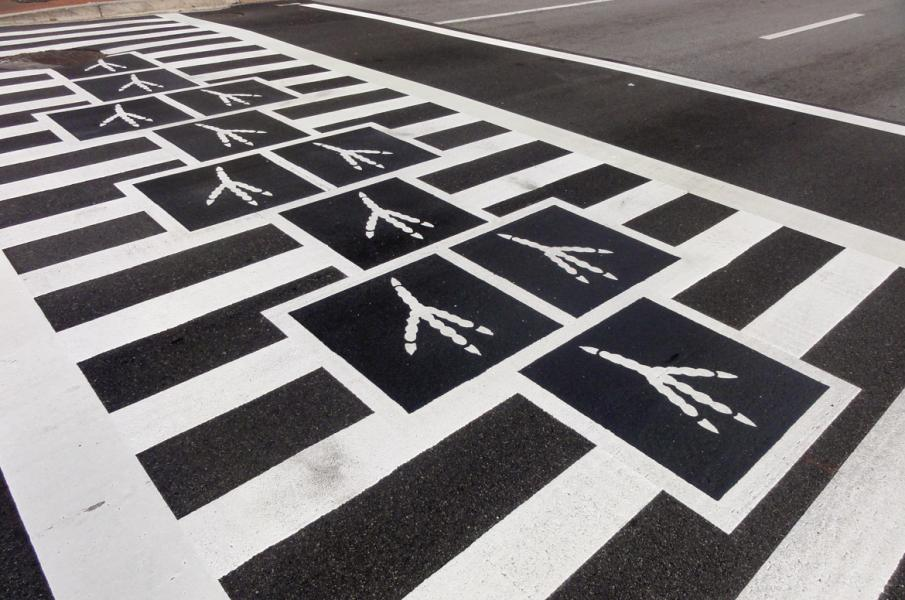 Hopscotch Crosswalk Colossus - bird tracks