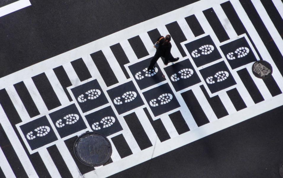 Hopscotch Crosswalk Colossus - boot prints from above