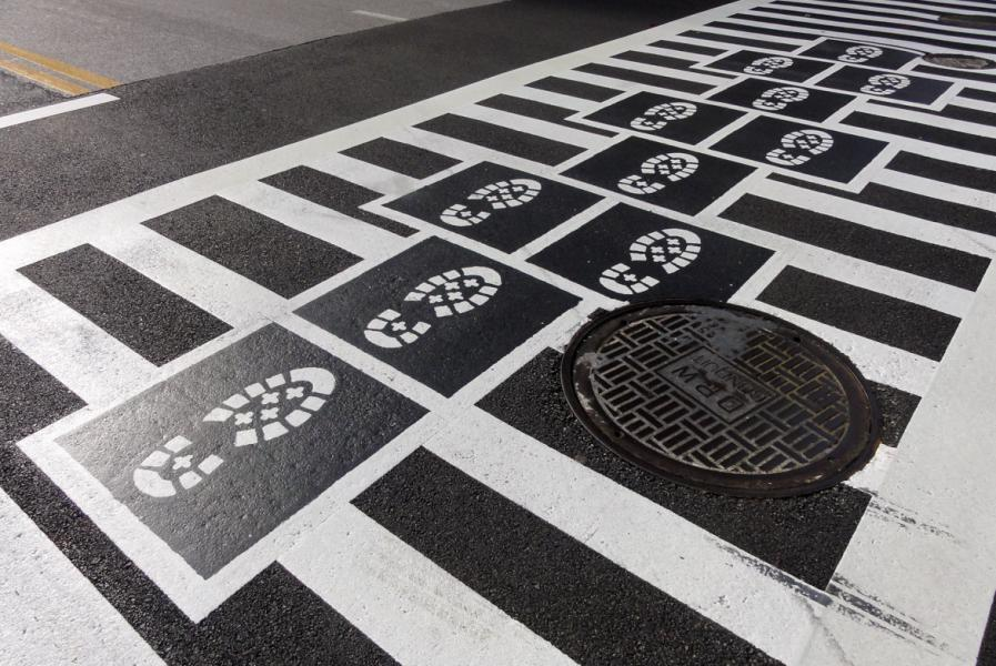 Hopscotch Crosswalk Colossus - boot prints