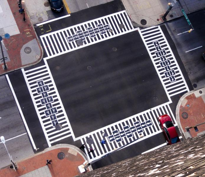 Hopscotch Crosswalk Colossus - overhead view