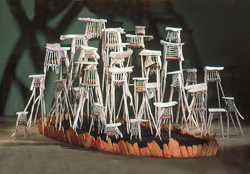 multipes, sculpture, installation, wood, mixed media.