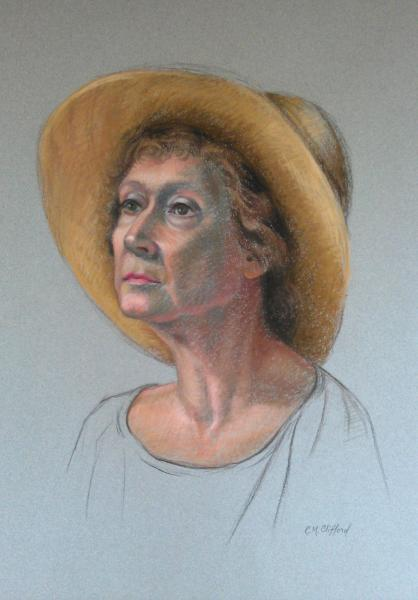 Pastel  portrait of a woman on mi teintes paper. 16x20 inches.
