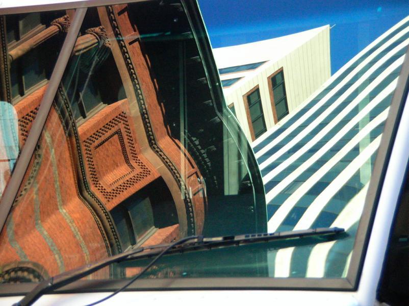buildings in a windshield