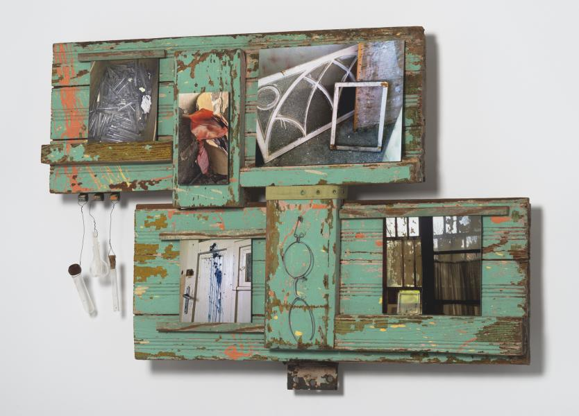 found objects, wall assemblage, photographs, mixed media