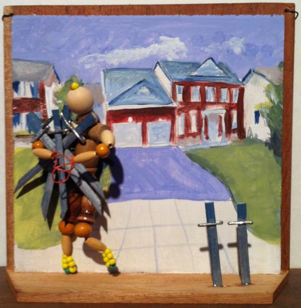 assemblage, mixed media, cigar box, painting, tarot,thief