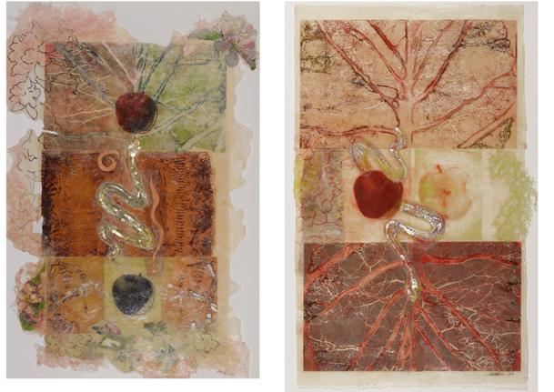beginning and end series of encaustic prints