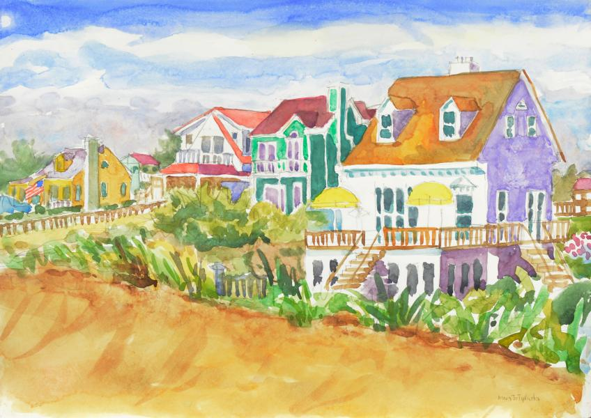 "Beach Houses First Year, watercolor, 15""x20"", 2006"