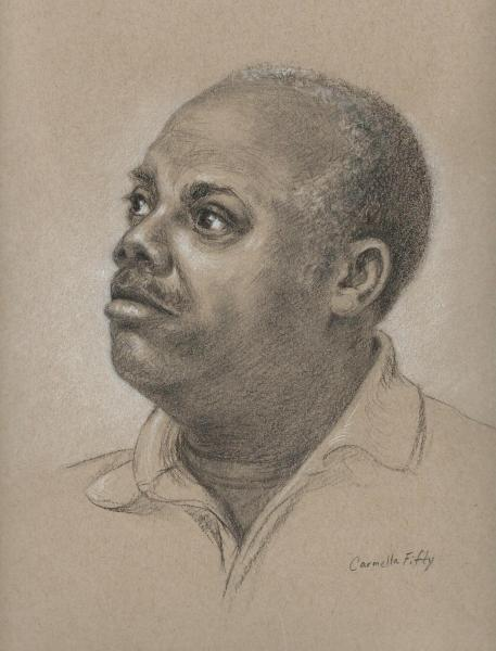 Charcoal on Strathmore colored paper of a model, Amory. 9 x 12 inches.