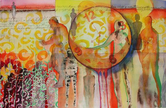 """watercolor, 15"""" x22"""", 2013 Having won a Cubbison Memorial Exhibit Travel Award in Sept 2012 at Towson University, I began a Time Travelers series of artworks with this watercolor."""