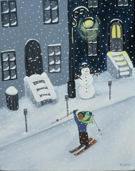 A child skis down a city street during a snow storm