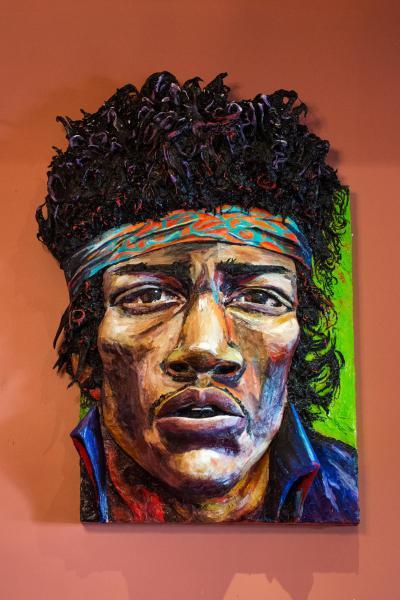 Built-Out Portrait of Jimi Hendrix by Artist Brett Stuart Wilson