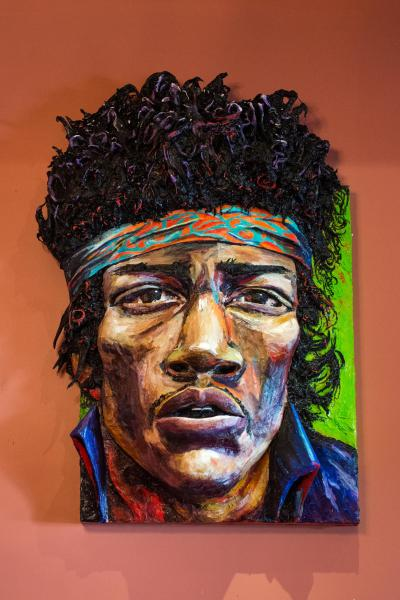 Built-Out Portrait of Jimi Hendrix by Artist Brett Stuart Wilson