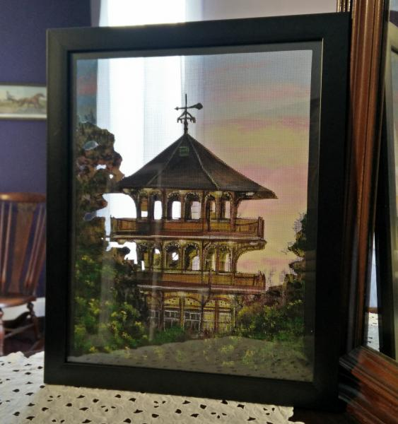 See-though window screen painting of the Patterson Park Pagoda