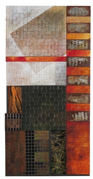 I grew up at 2200 Callow Ave, Baltimore, several blocks below the now bull dozed wasteland of old Whitelock Street. Walking round the old neighborhood I sketched, remembered, accumulated and discarded; mosaic tile, rusted bits of metal, an old pair of pli