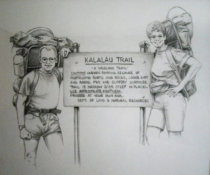 Pencil sketch of backpacking the Kalalau Trail in Kauai.