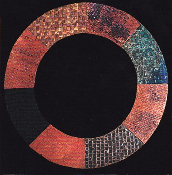 """One of my first quilts: woven copper and woven steel patinated with heat and chemicals. quilted together with steel and copper wire  copper, steel 48"""" x48"""" x2"""""""