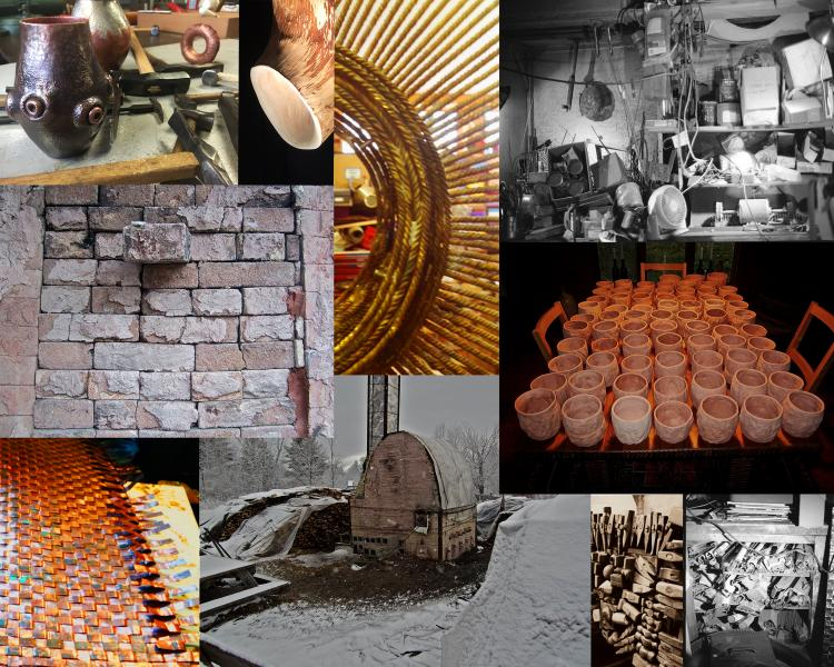"""my original collage of studios I created for the book, """"CRAFTSPEOPLE: in their own words"""""""