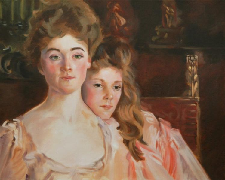 16x20 inches. Oil on canvas after John Singer Sargent - Mrs. Fiske Warren and her daughter, Rachel