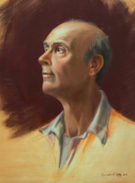 Oil portrait study of the model, Bob, on canvas. 12x16nches.