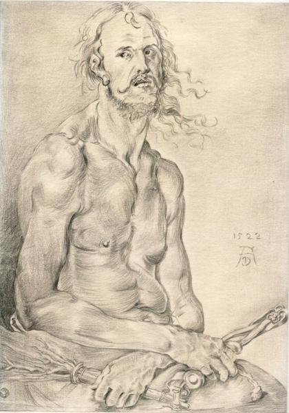 Pencil on drawing paper of Man of Sorrows, after Durer 9x14 inches.
