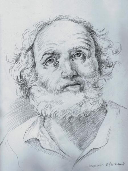 Charcoal draweing of a Franceschini B. (Volterrano) copy.
