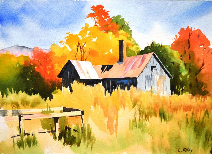 """9.5"""" by 13"""" watercolor of autumn in Frostburg."""