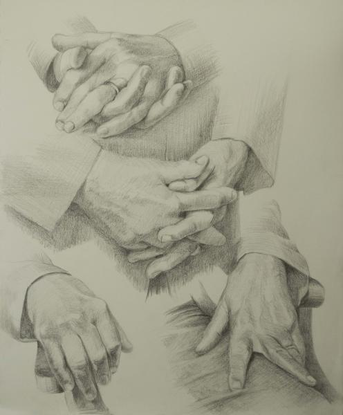 Pencil studies of my husband's hands.