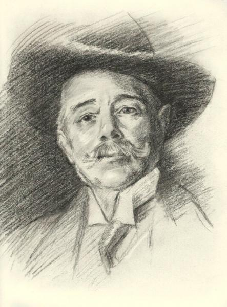 """Charcoal on drawing paper. John Singer Sargent copy - """"Ramacho Ortigao"""" 9x14 inches."""