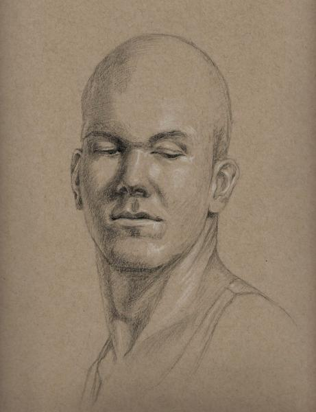 Charcoal on Strathmore colored paper of a physical trainer from my gym. 9 x 12 inches.