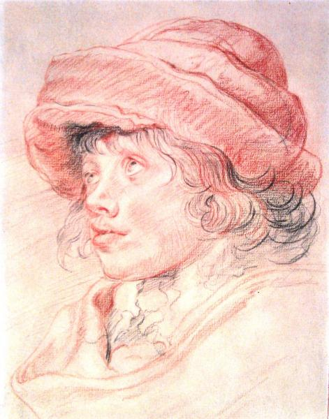 Tri-color conte on charcoal paper Peter Paul Rubens copy. 11x14 inches.
