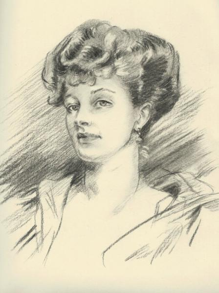 """Charcoal on drawing paper of John Singer Sargent copy - """"Woman"""" 9x14 inches."""