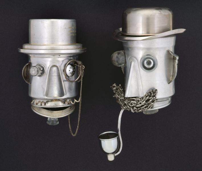 repurposed, kitchen utensils, found objects, metal, mixed media