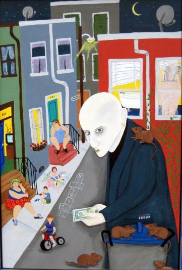Drug dealer as vampire on city streets