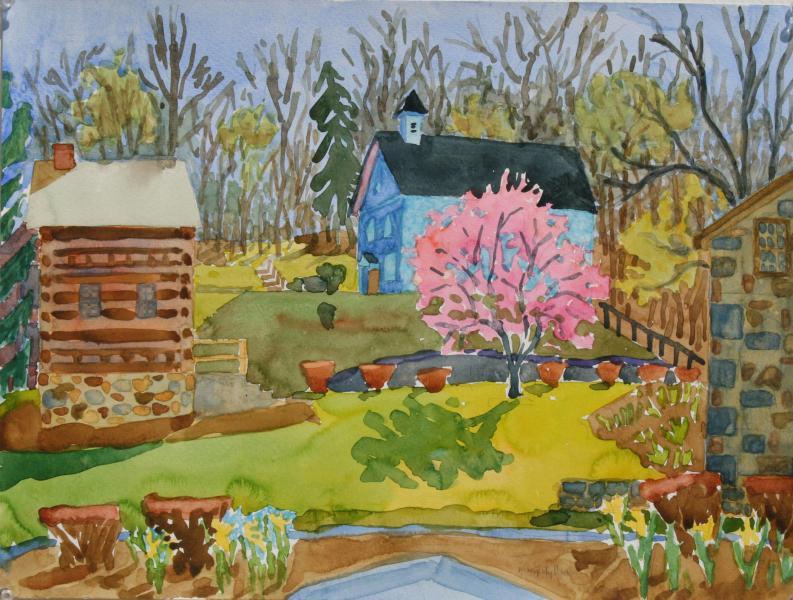 "Spring In Ellicott City, watercolor, 15""x20"", 2004"