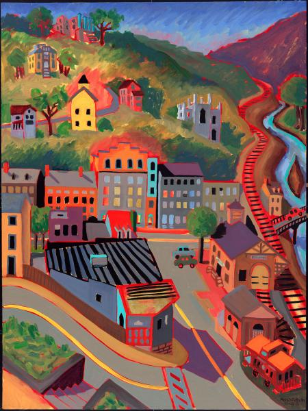 "Ellicott City Train Station From Above, oil, 40""x30"", 2003"