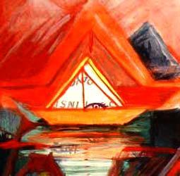 A bright orange boat with an eye