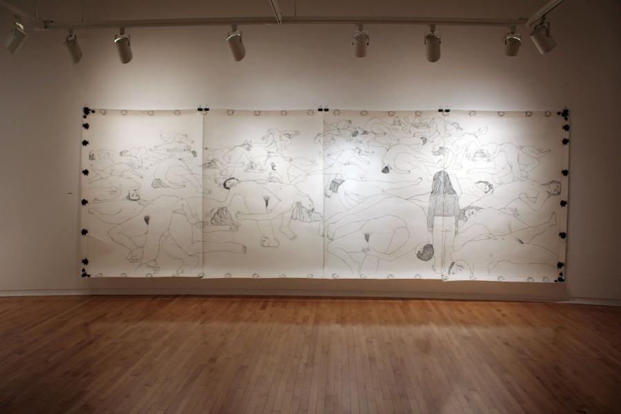 """The Fallen, from the """"What Will Befall Her?"""" series, Charcoal on hand-made Korean Paper. 7' X 20'"""